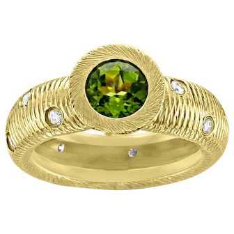 18k Paul Morelli Peridot & Diamond Ring