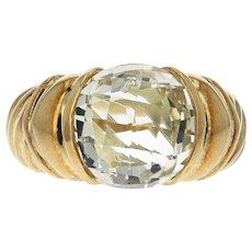 David Yurman 18K Yellow Gold Round 5CT Checkboard Cut Light Yellow Quart Ring