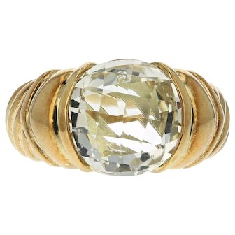 David Yurman 18K Yellow Gold Round 5CT Checkboard Cut Light Yellow Quart Ring