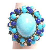 14KT Oval Center Turquoise With Lapis & Diamond Cluster Ring