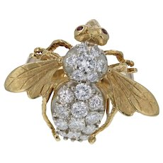 Vintage 14K & 18K Custom Diamond Bee Ring