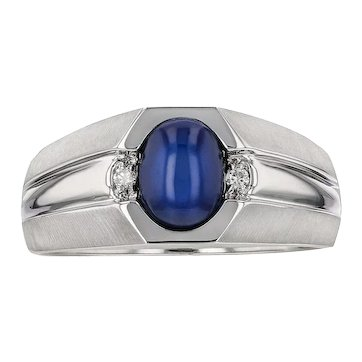 14KT Cabochon Synthetic Star Sapphire and Diamond Ring