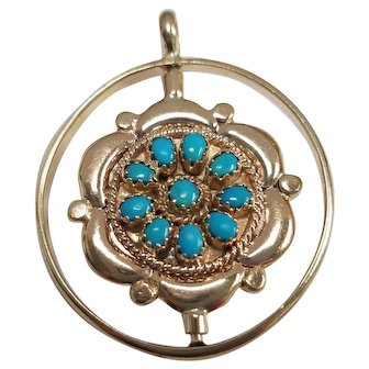 Vintage 14K Turquoise & Red Coral Turning Pendant