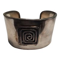 Vintage Mexican Sterling Silver Wide Cuff Bangle
