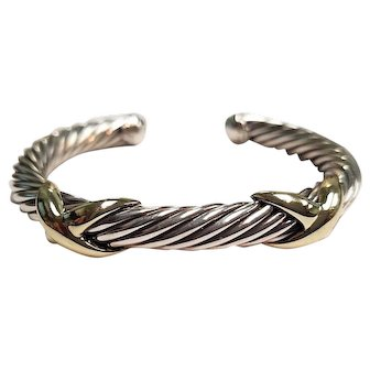 David Yurman 14K Yellow Gold & Sterling Silver 7mm Cable Double X Cuff Bracelet