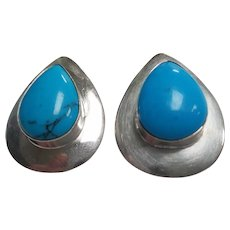 Vintage Mexican Sterling Silver Pear Shape Turquoise Earrings