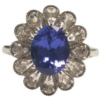 18K Oval Tanzanite & Pear Shape Morganite Floral Ring