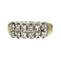 Vintage 14KT Two Tone Round Diamond Anniversary Band