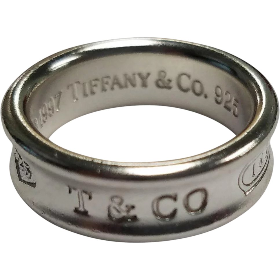 61c4c4a3c Tiffany & Co. Sterling Silver 1837 Wedding Band : Gold & Diamond Source |  Ruby Lane