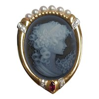 18KT & Platinum Oval Hardstone Agate Cameo With Ruby, Pearls, & Diamonds- Brooch Or Pendant Combo