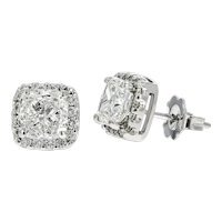Stunning 14KW 2.32 Cushion Round Diamond Halo Earrings