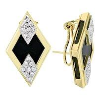14KT Yellow & White Gold Black Onyx & Diamond Clip Earrings