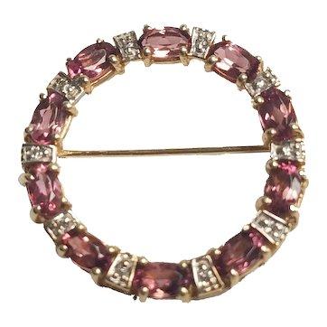 14K Oval Pink Tourmaline & Diamond Circle Pin/Brooch