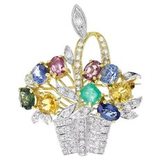 18KT & Platinum Sapphire, Emerald & Diamond Flower Basket Pin-Pendant