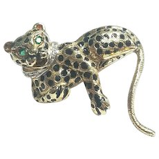 Vintage Solid 14k Leopard Emerald & Diamond With Black Enamel Pin-Brooch
