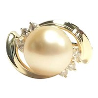 18K 9.7 Millimeter South Sea Golden Pearl & Diamond Ring