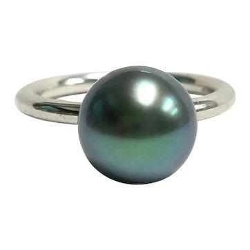 18K Tiffany & Co. Iridesse 9.95MM Tahitian Cultured Pearl Ring