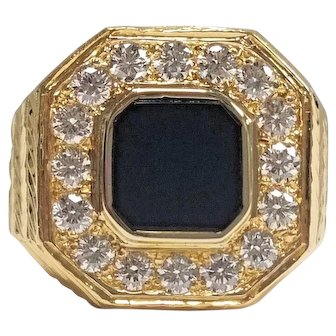 Vintage Men's 22K Yellow Gold Black Onyx & Diamond Ring