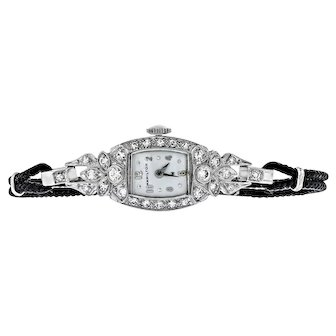 Vintage Platinum Hamilton Diamond Watch