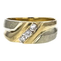 14K White & Yellow Gold 3 Round Diamond Anniversary Band