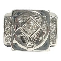 14k White Gold 0.64 Carat round Diamond Men's Masonic Ring