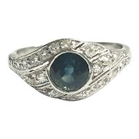 Vintage Platinum Greenish Blue Sapphire & Diamond Ring