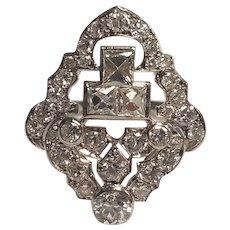 Vintage 2.42 Carat French & European Cut Diamond Ring In Platinum