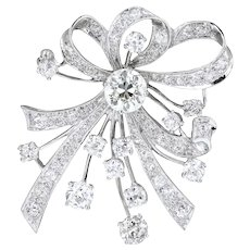 Platinum 5.24 Carat Round Diamond Ribbon Brooch-Pendant