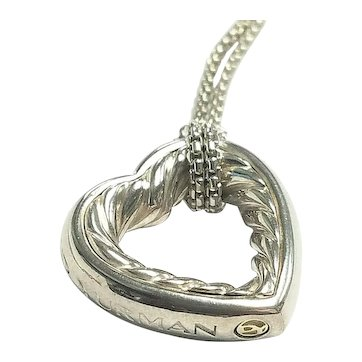"David Yurman Sterling & 18k Yellow Gold Rope Open Heart Necklace 16"""