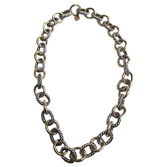 David Yurman  Sterling Silver & 18K Cable Link Necklace 16 Inches