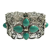 Wide Sterling Silver 12 Turquoise Filigree Bracelet 7 Inch Circumference