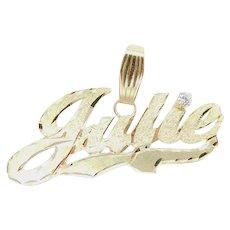 .06 Carat Diamond Julie Nameplate Pendant 14k Yellow Gold