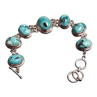 Sterling Silver 7 Oval Cabochon Turquoise Toggle Bracelet