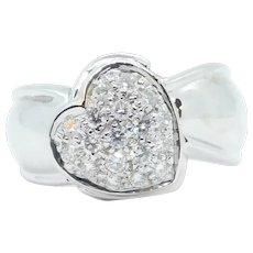 .50 ctw Diamond Pave Heart Ring 18k White Gold