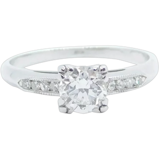 Vintage 1930-40's .66 ctw Diamond Engagement Ring Platinum