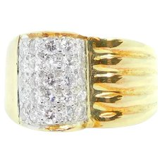 Modernist .62 ctw Diamond Domed and Ridged Ring 18k Yellow and White Gold Two-Tone