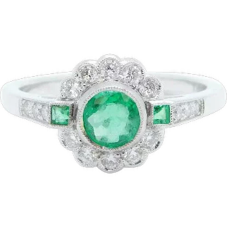 .74 ctw Emerald and Diamond Halo Ring 18k White Gold
