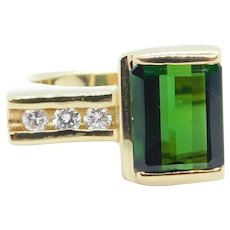 3.18 ctw Green Tourmaline and Diamond Modernist Ring 14k Yellow Gold
