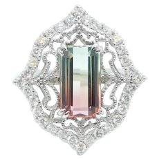 2.91 ctw Bi-Color Watermelon Tourmaline and Diamond Filigree Ring 14k White Gold