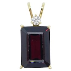 9.33 ctw Synthetic Garnet and Diamond Pendant 14k Yellow Gold