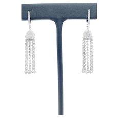 2.00 ctw Hanging Tassel Earrings 14k White Gold