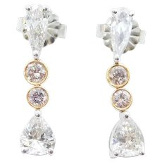 1.43 ctw White and Light Pink Diamond Petite Dangle Earrings 18k White and Rose Gold Two-Tone
