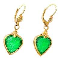 Edwardian Romantic Embossed Floral Green Paste Heart Dangle Earrings 18k Yellow Gold