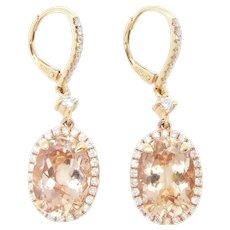 Striking 6.31 ctw Morganite and Diamond Halo Dangle Earrings 14k Rose Gold