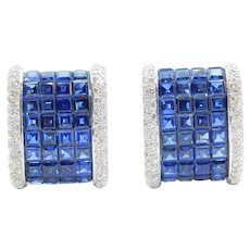 Art Deco Revival 10.10 ctw Sapphire and Diamond Earrings 18k White Gold