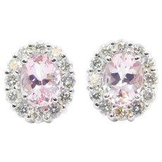 3.83 ctw Morganite and Diamond Halo Stud Earrings 14k White Gold
