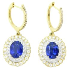 4.68 ctw Kyanite and Diamond Double Halo Dangle Earrings 14k Yellow and White Gold Two-Tone