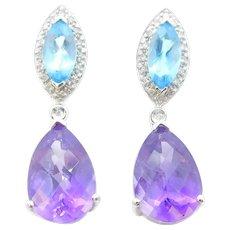 12.15 ctw Amethyst, Blue Topaz and Diamond Earrings 14k White Gold