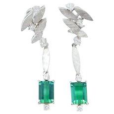 Retro 4.60 ctw Green Tourmaline and Diamond Dangle Earrings 18k White Gold
