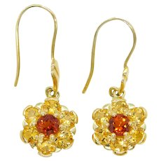 1.70 ctw Madera Quartz and Citrine Flower Cluster Dangle Earrings 14k Yellow Gold